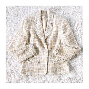 Amanda Smith Petite Tweed Blazer Yellow sz M